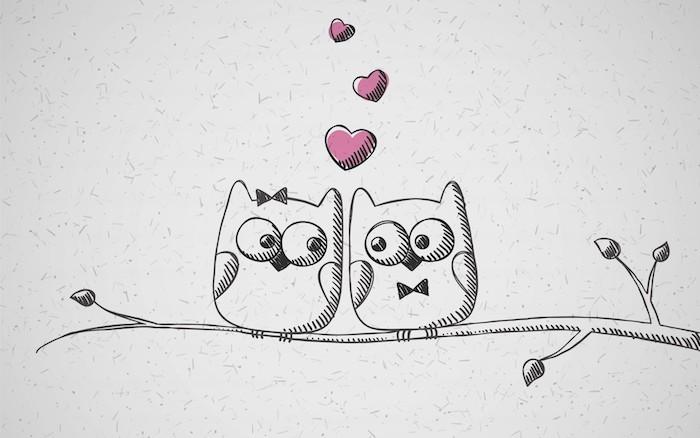 deux hibous sur une branche d arbre style graphique et de petits coeurs qui s envlent dans l air