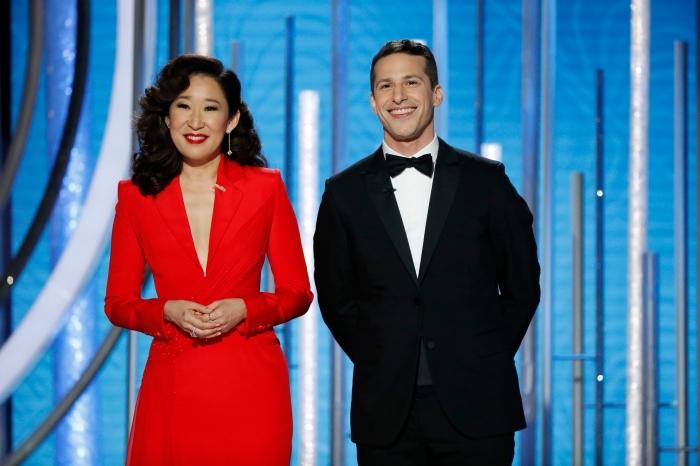 golden globes 2019 date, animateurs de la cérémonie de remises de prix Golden Globes 2019, hôtes Golden Globes Sandra Oh et Andy Samberg