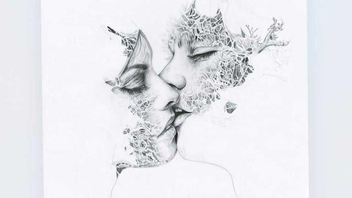image femme qui embrasse un homme, dessin de visage personne avec motifs floraux dessinés dessus, dessin artistique