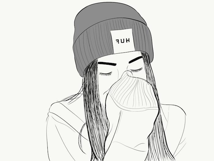dessin facile a faire avec tumblr outlines, fille traits pour dessiner cheveux, sweat avec manches évases fille qui a couvert sa bouche, chapeau swag