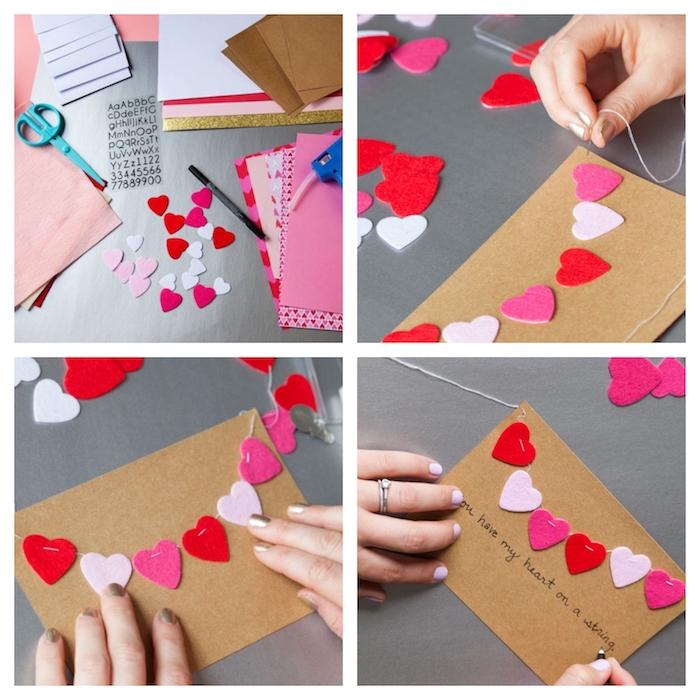 guirlande de petits coeurs en feutrine sur papier kraft, idée comment faire une carte st valentin originale