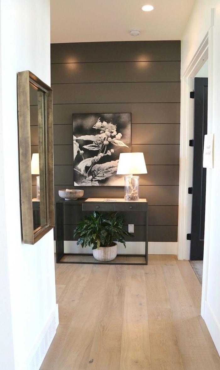 petit couloir blanc dans un appartement moderne dont le mur au fond revêtu de planches bois a été peint marron foncé