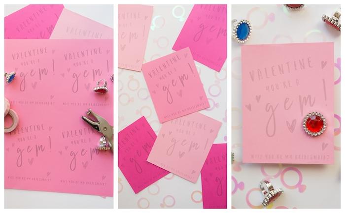 idée de carte de voeux originale en couelur rose avec texte d amour et une décoration de strass et pierre précieuse