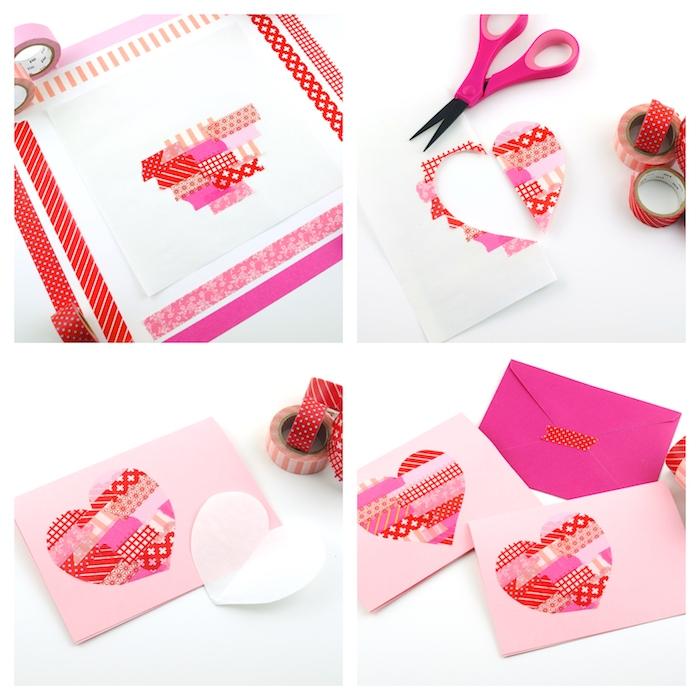 idée silhouette coeur en washi tape à couleurs et motifs variés sur un bout de papier blanc, bonne saint valentin mon amour