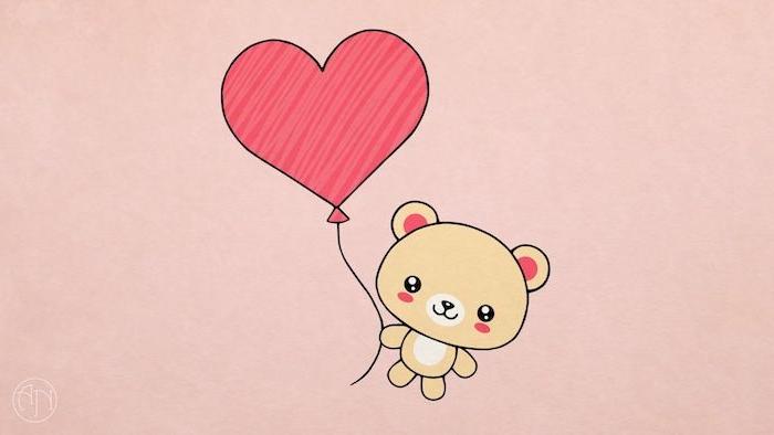 dessin animaux mignon, ourson peluche avec ballon en forme de coeur sur fond rose, quel dessin pour saint valentin