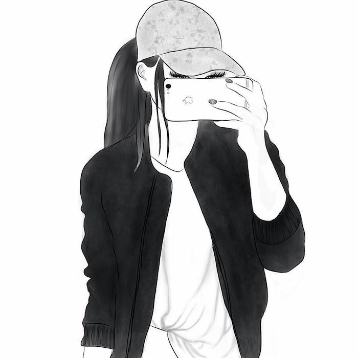tee shirt blanc et veste de sport gris anthracite, fille qui prend un selfie avec casquette et apple i phone