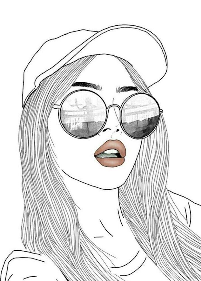 casquette et lunettes de soleil, beau dessin facile faire avec outlines et rouge à lèvres rouge, dessin noir et blanc tendance