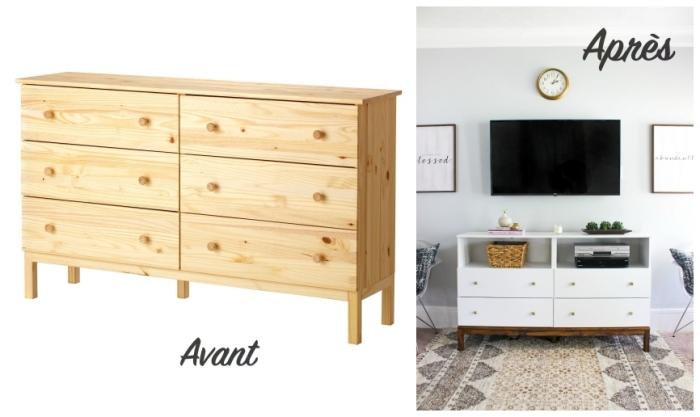 une simple commode à tiroirs de chez ikea customisée et transformée en joli meuble tv fonctionnel, meuble ikea salon pour accueillir tous vos multimédias