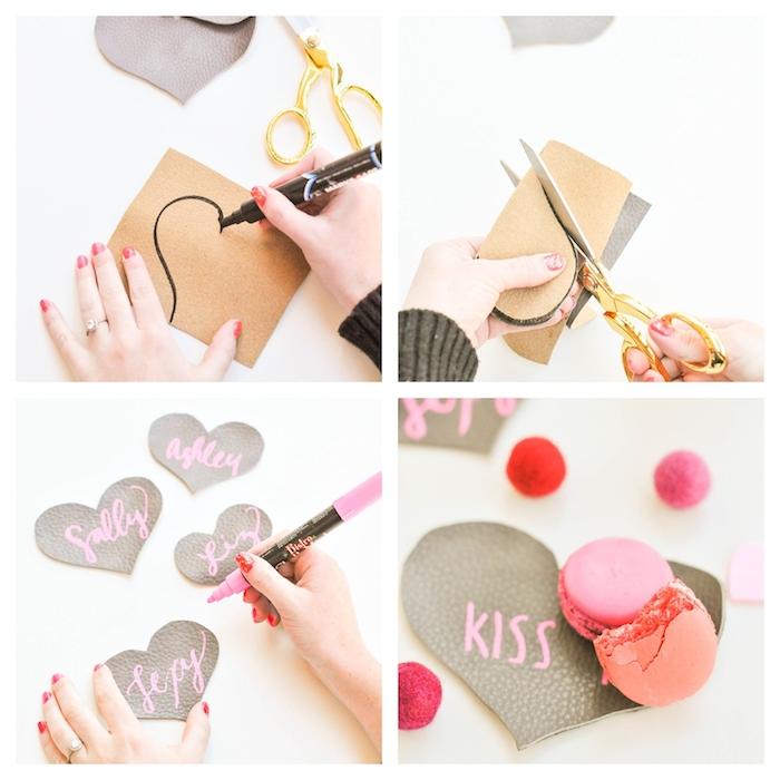 idée d activité saint valentin à faire soi meme, carte coeur en cuir avec texte d amour écrit au feutre rose, decoration originale de macarons