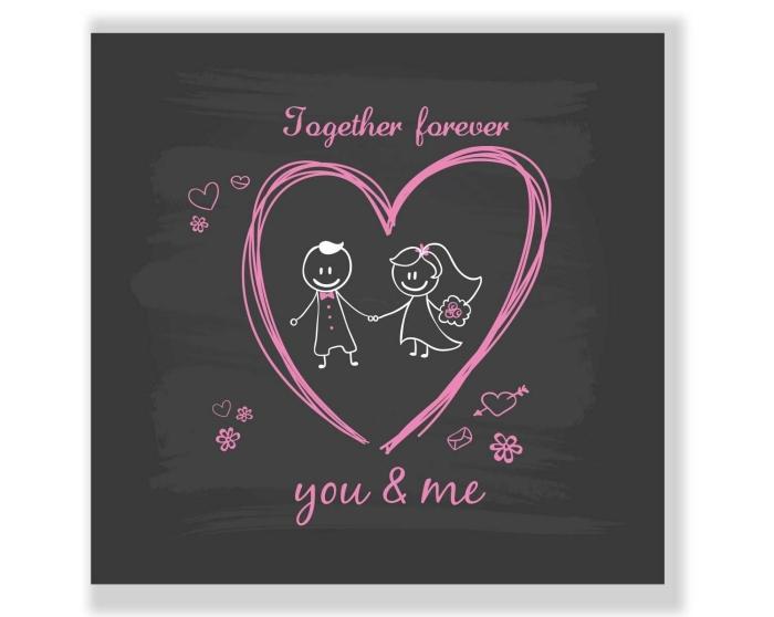 objet romantique pour Saint Valentin, idée cadeau personnalisé pour couple, modèle dessus de verre avec mots doux et dessins amour