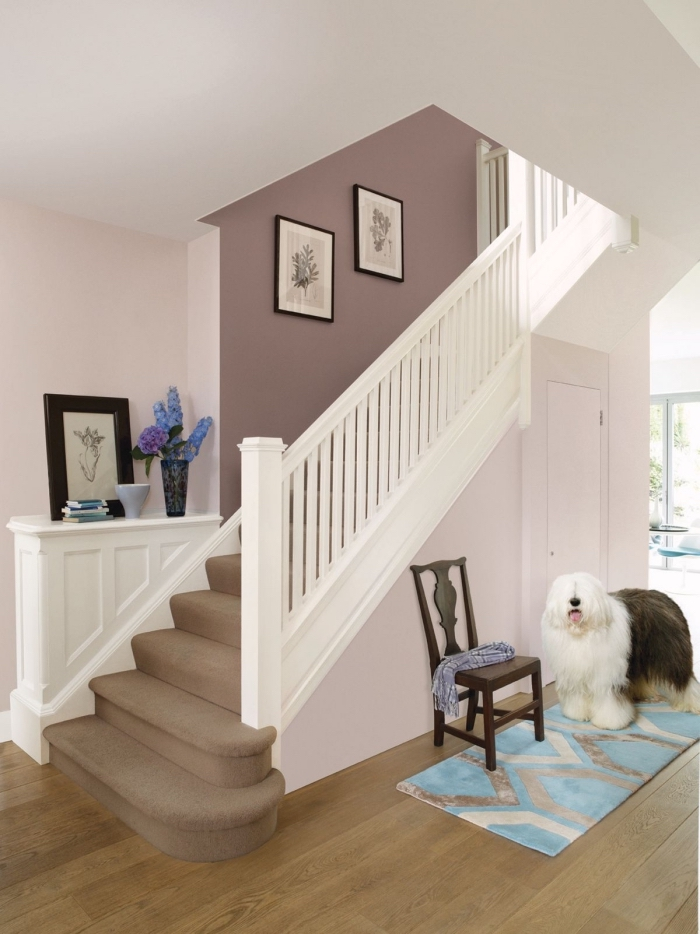 peindre une cage d'escalier en 2 couleurs de la même tonalité, peintures couleur rose pâle et vieux rose qui s'harmonisent parfaitement pour créer une ambiance douce et féminine dans le hall d'entrée