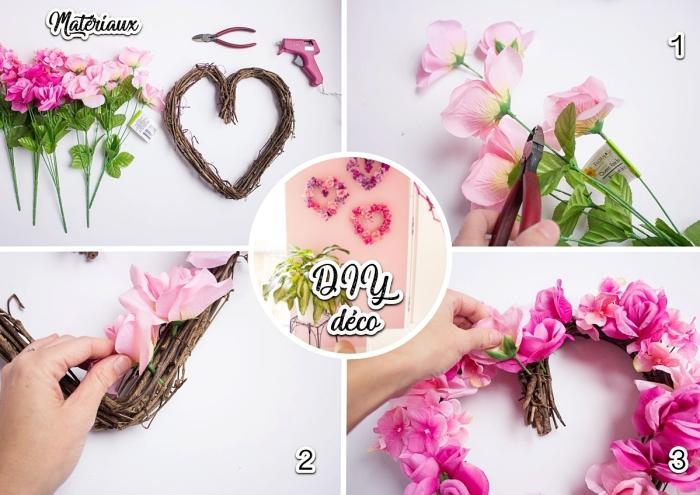 activité manuelle pour la Saint Valentin, diy décoration romantique pour l'intérieur, déco murale avec roses artificielles en forme de coeur