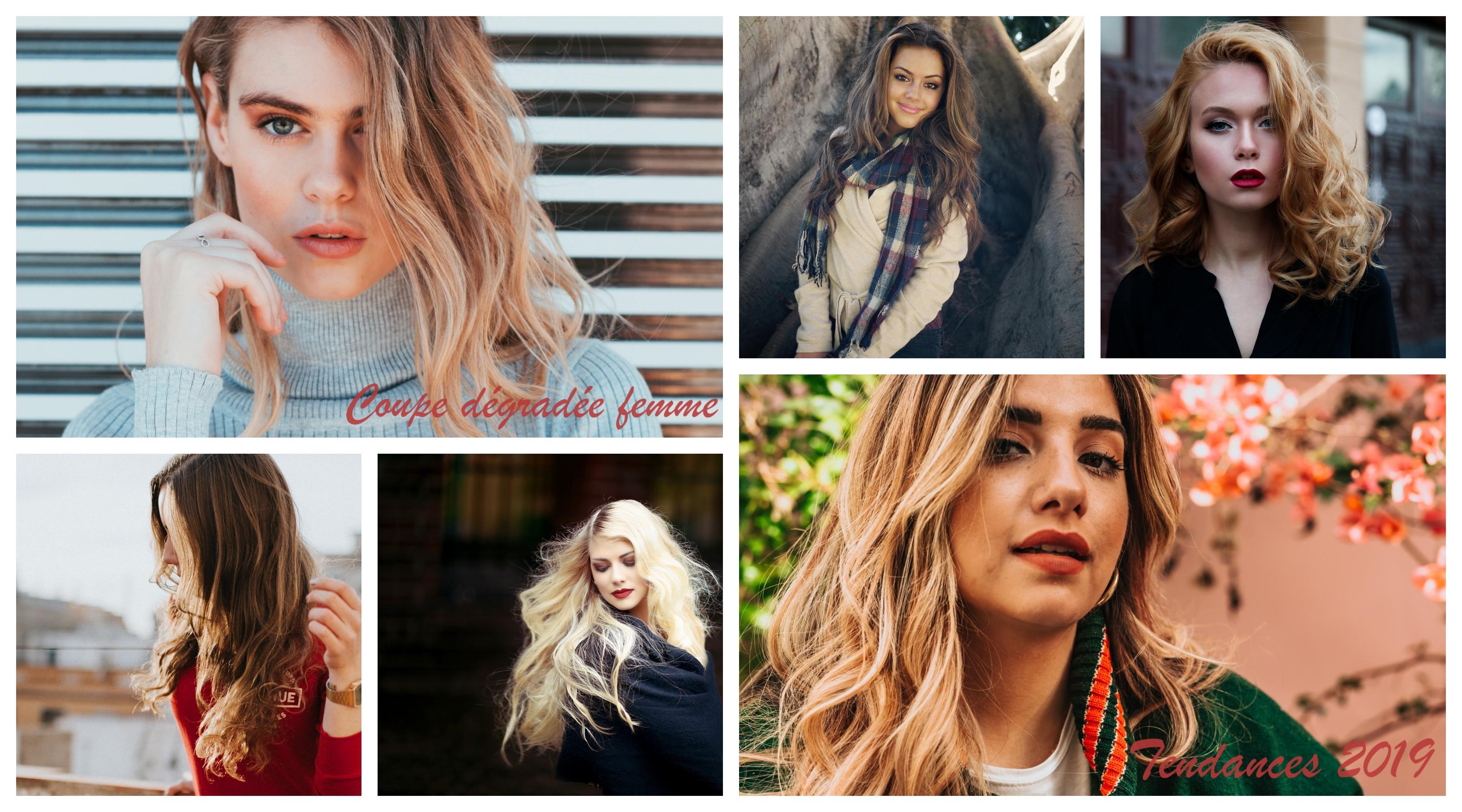 Quelles sont les meilleures idée pour une coupe dégradée femme, moderne coupe de cheveux, collage de photos 2019 meilleures tendances cheveux longs