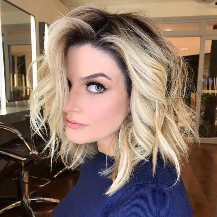 Femme avec grand yeux, coupe de cheveux carré original, beaux cheveux femme jolie photo inspiration