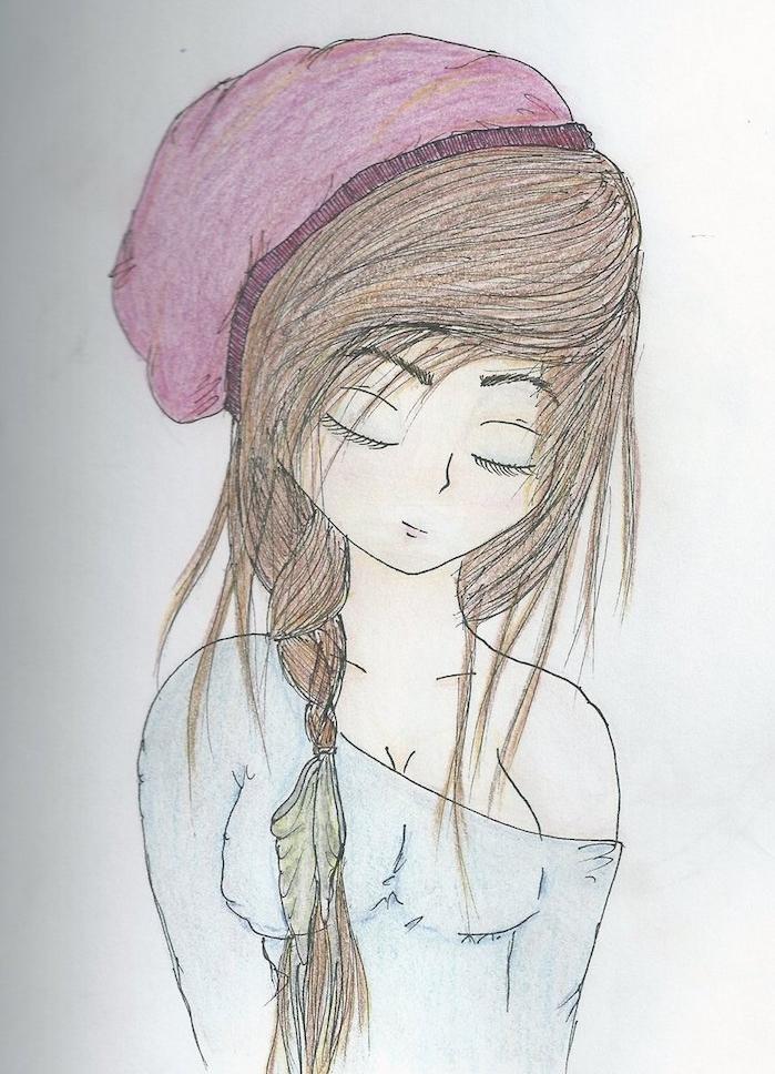dessin petite fille facile a faire fille aux cheveux tressés et blouse bleue et chapeau rose, dessin facile a faire pour debutant