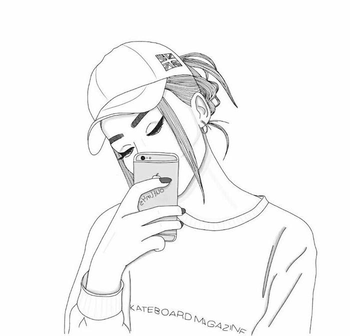 fille qui prend un selfie, comment dessiner facilement soi meme, blouse blanche, cheveux attachés en arrière et casquette, tumblr outlines