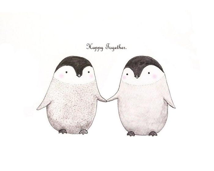 comment dessiner des pingouins mignons, dessin amoureux pingouins qui se tiennent par la main, texte heureux ensemble