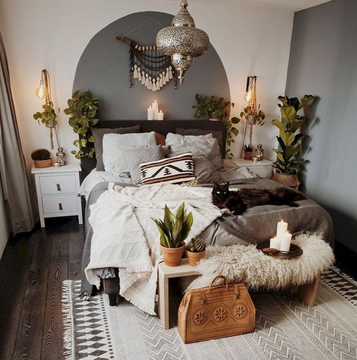 idee decoration chambre adulte de style boho moderne peinture chambre adultes en deux couleurs gris anthracite