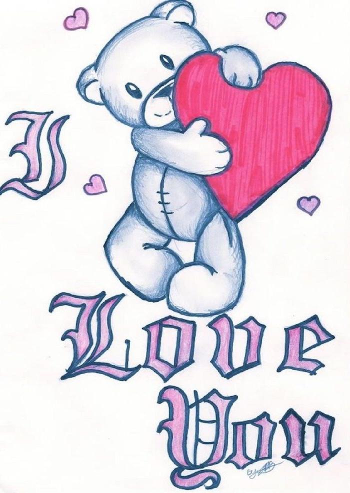 dessin graphique de petit ourson en peluche avec un coeur rouge et un texte je t aime en lettres rose sur fond blanc