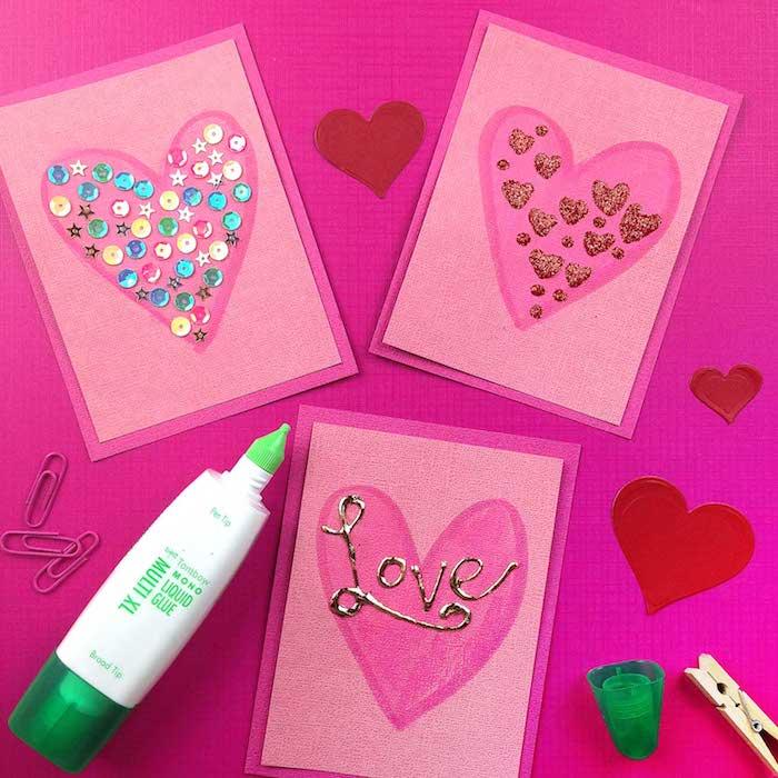 fabriquer une carte d amour en motif coeur dans papier décoré de strass et de peinture 3d, idée saint valentin comme activité manuelle maternelle