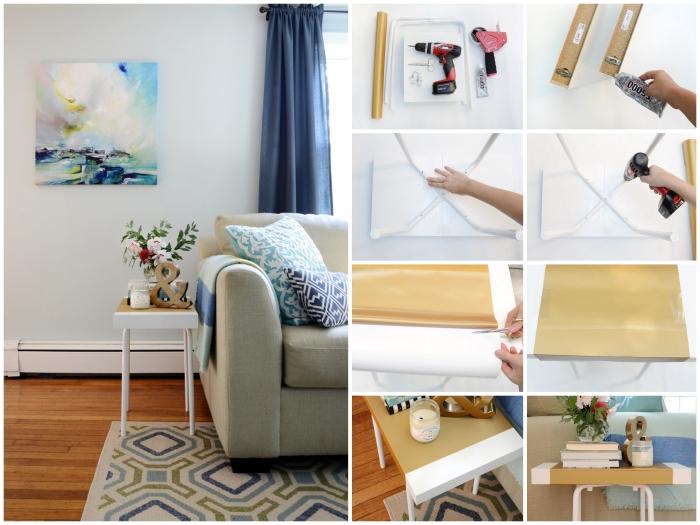 ikea hacks pour donner une nouvelle vie aux meubles, un tabouret marius de chez ikea transformé en table d'appointe à plateau bicolore