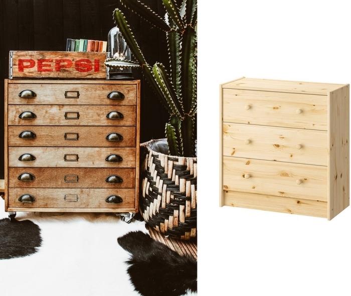 customiser meuble ikea, transformer une commode rast de chez ikea en meuble d'apothicaire sur roulettes au look vintage