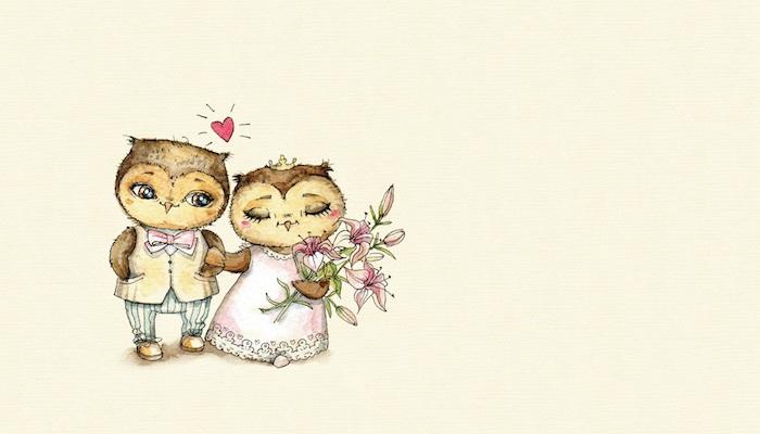 dessin animaux mignon, deux hibous sur fond jaune, male et femelle mariés en robe et costume de marié avec bouquet de fleurs