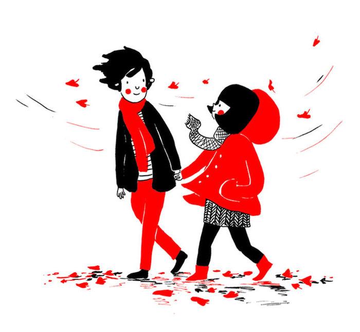 couple amoureux illustration dessin noir et rouge, promenade en automne, idée d image pour la saint valentin