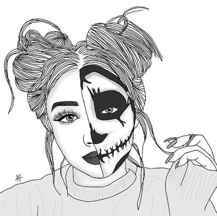 maquillage tête de mort fille aux cheveux attachés en macarons, pull gris, ongles gris, dessin noir et blanc de fille terrifiant