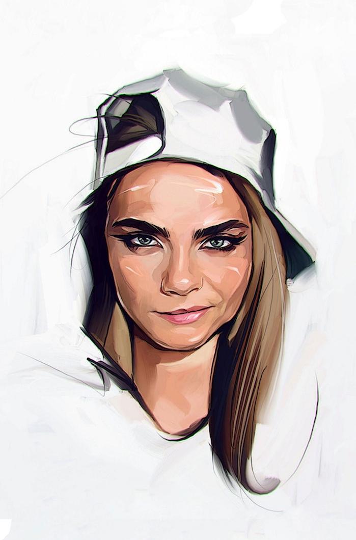 dessin facile a faire pour debutant, fille avec casquette à l envers, dessiner un visage cara delevingne street style