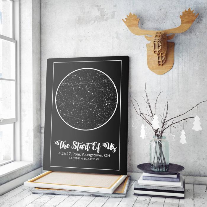 idée originale saint valentin, cadeaux fans astrologie, modèle carte du ciel étoilé date de rencontre, map constellation à point précis et date précise