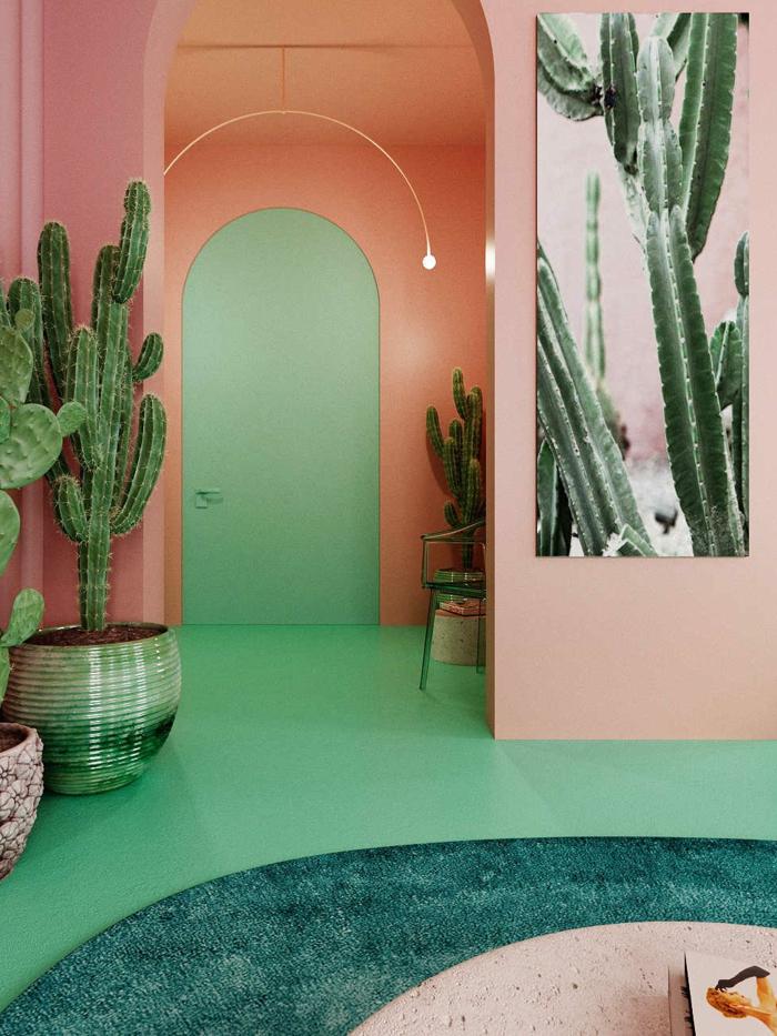 cactus géants, peinture verte au sol, peinture murale couleur saumon, tendance deco 2019