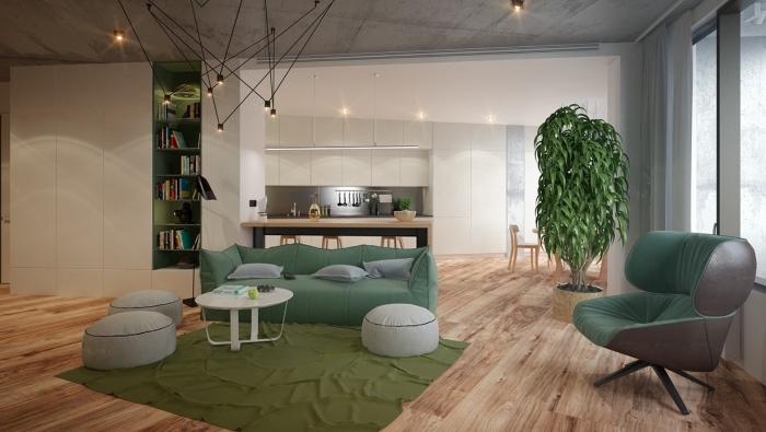 aménagement appartement de style contemporain avec plafond béton design industriel, déco avec accessoires de vert foncé