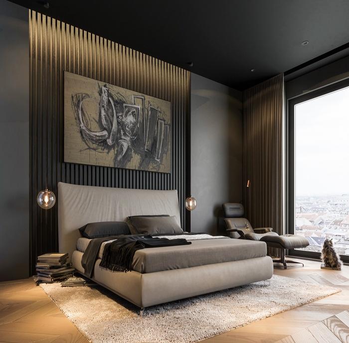 interieur moderne design chambre a coucher adulte aux murs noirs peinture foncee tendance parquet bois chambre bois et noir moderne