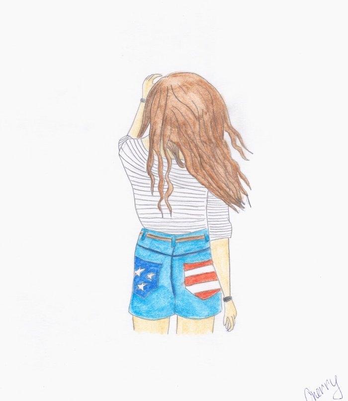 jean short bleu et tee shirt noir et blanc, fille aux cheveux chatain, dessin facile a faire etape par etape aux crayons de couleurs