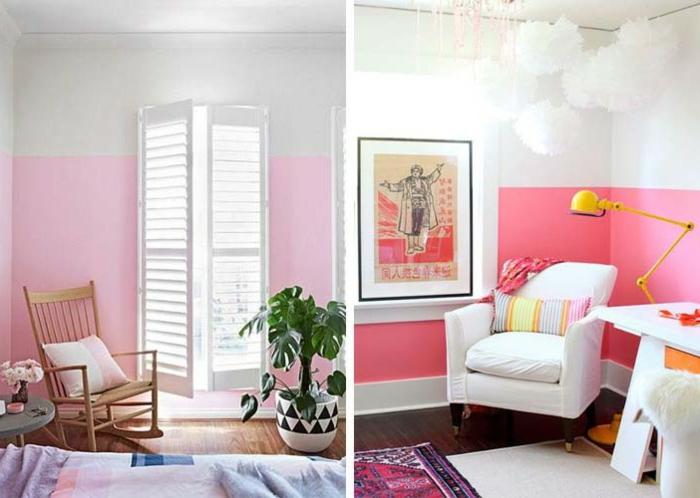 peindre une chambre en rose et blanc, chaise berçante, tapis lilas, mur rose, lampe jielde jaune