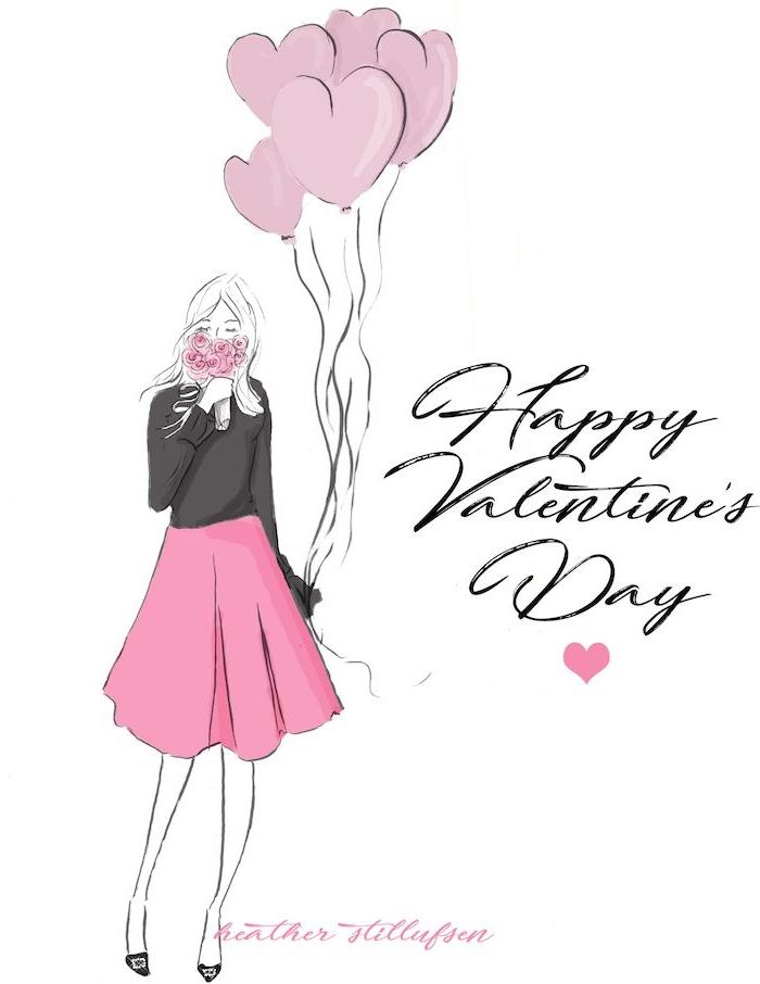 image joyeuse saint valentin en gris et rose, femme en jupe rose et pull gris, bouquet de fleurs et ballons rose en forme de coeur, texte joyeuse saint valentin