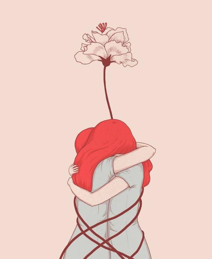 amour de soi, dessin original fille en câlin avec soi meme et une fleur autour qui s'élance vers le ciel, cheveux rouges