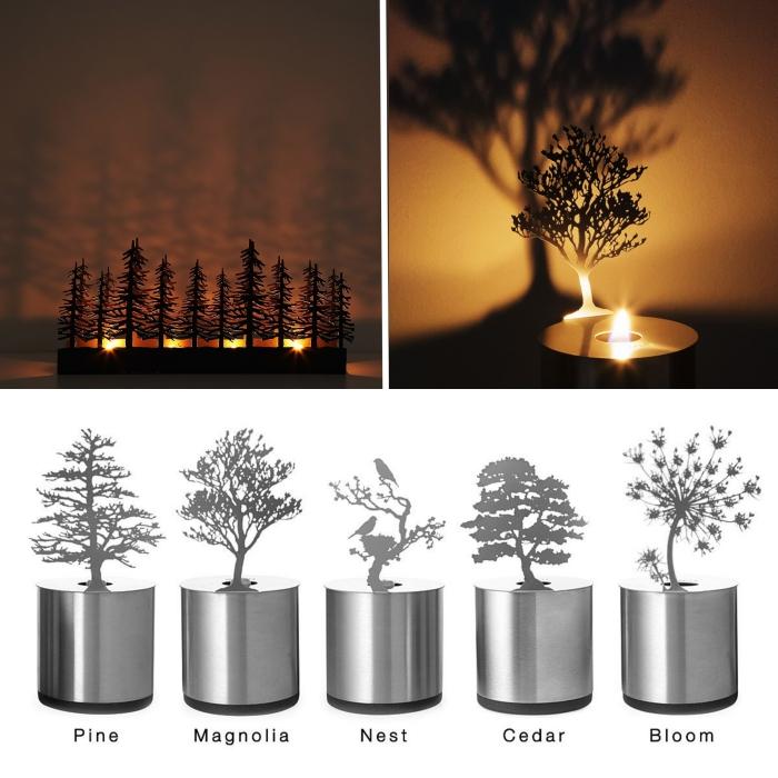 quel cadeau saint valentin femme, modèle de lampe bougie led originale, exemple projecteur figurine arbres ou fleurs avec bougie