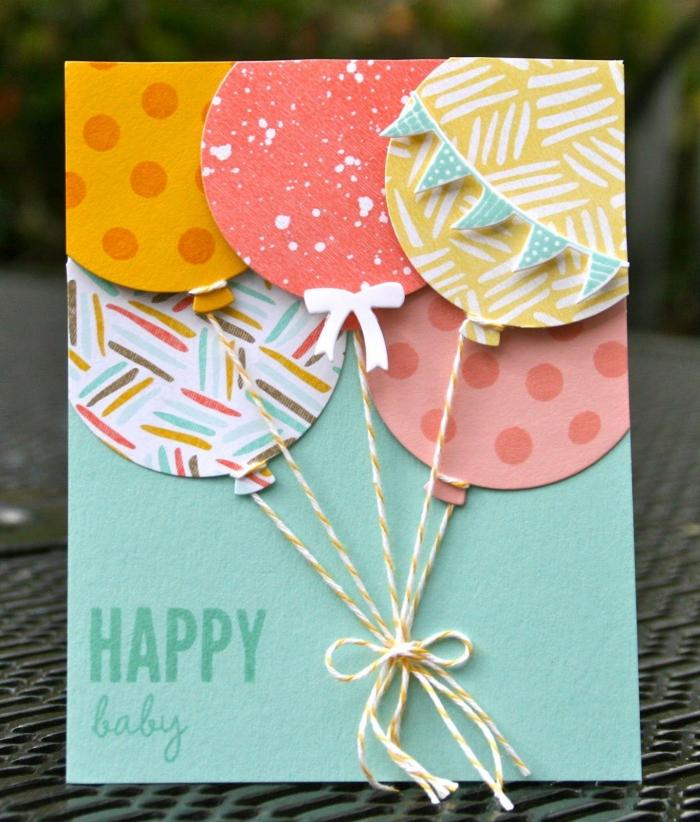 comment utiliser le papier cartonné, idée création scrapbooking facile, petit geste d'amour avec carte DIY verte avec ballons