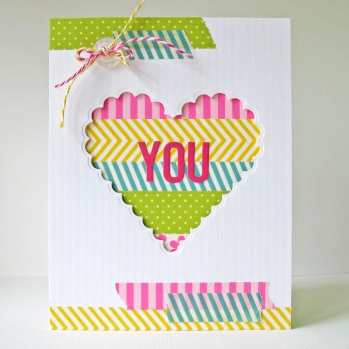 modèle de jolie carte d amour faite maison, idée comment faire une carte St Valentin en papier cartonné blanc avec ruban adhésif