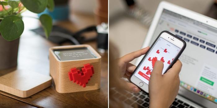 boîte à amour connectée, idée cadeau original pour 14 février, cadeau high-tech, envoyer message d'amour sur boîte en bois avec coeur