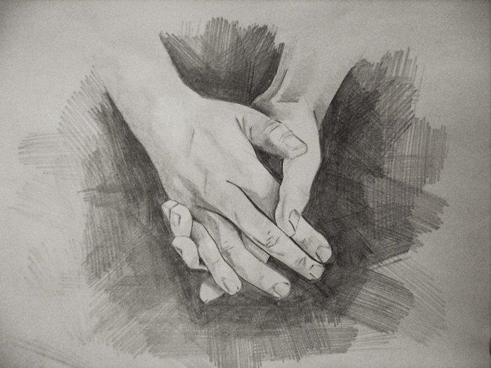 dessin de deux mains graphique en noir et blanc sur fond gris, idée art dessin original sur le theme amour