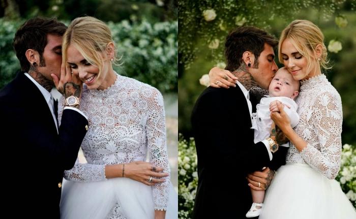 cérémonie mariage Chiara Ferragni et Fedez, robe de mariée de la blogueuse Chiara Ferragni avec manches longues et jupe en tulle blanche