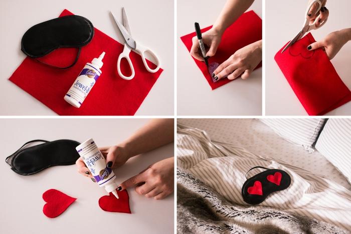 accessoire de mode facile à réaliser, comment personnaliser masque visage femme, activité manuelle pour la Saint Valentin femme