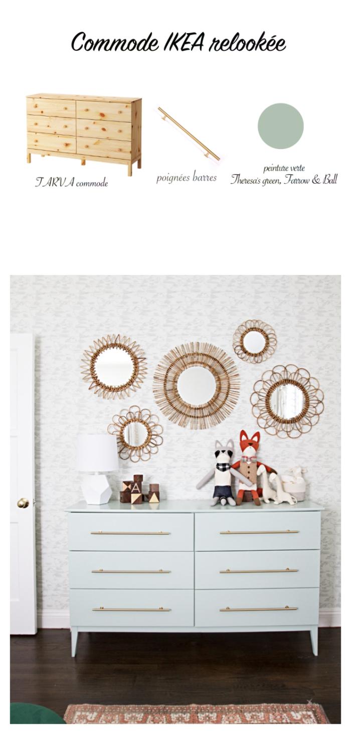 customiser un meuble grâce à de la peinture et à de nouvelles poignées, une commode ikea repeinte en bleu pastel pour la chambre de bébé