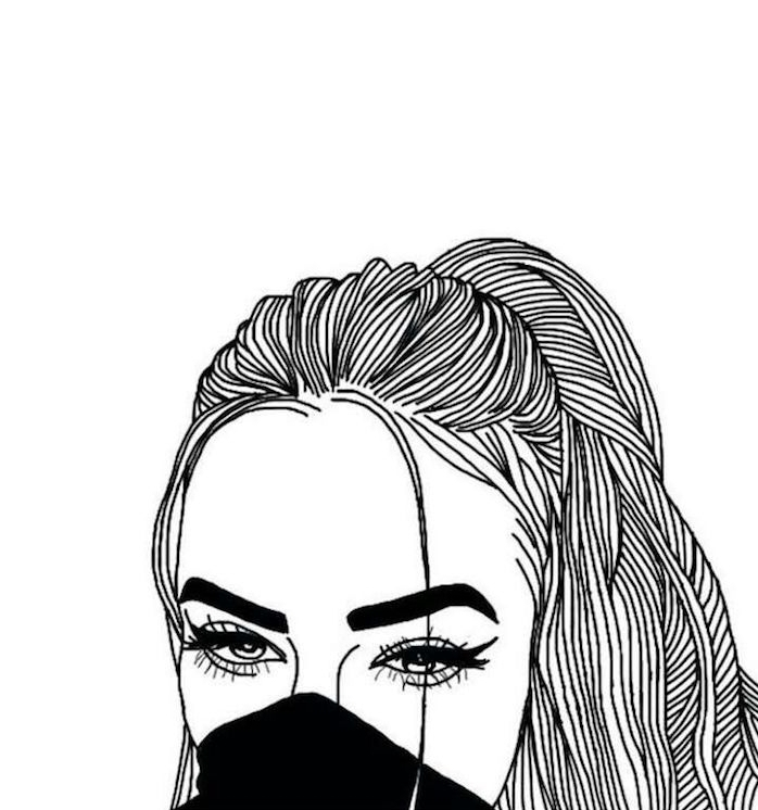 queue de cheval et écharpe sur la bouche d une belle fille avec regard swag, comment dessiner soi meme