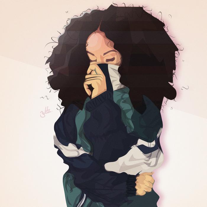 dessin fille swag dessiner facilement, cheveux volumineux et tenue de sport fille qui couvre sa bouche, street style
