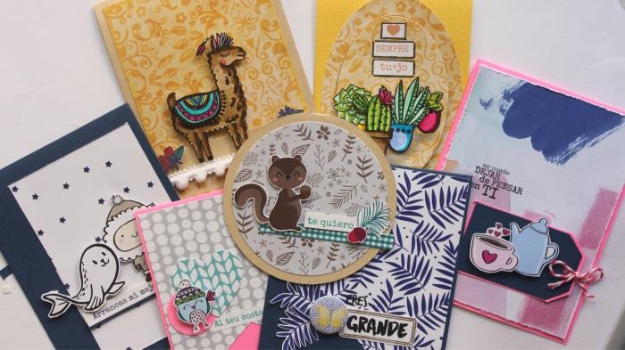 comment fabriquer une carte d'anniversaire, idées de carte DIY avec papier scrap et figurines en papier animaux et plantes