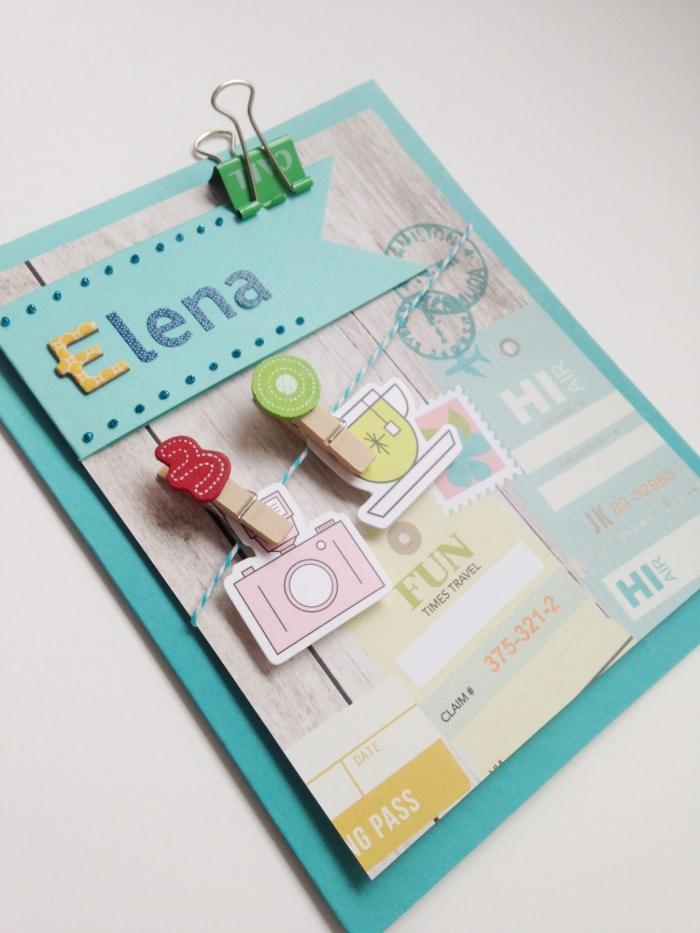 fourniture et embellissements pour scrapbooking, carte anniversaire originale à faire soi-même, carte DIY sur le thème voyage